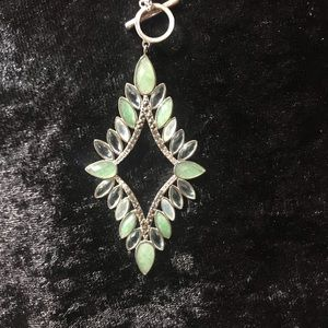 Gorgeous Sterling Silver & Green Stone Necklace